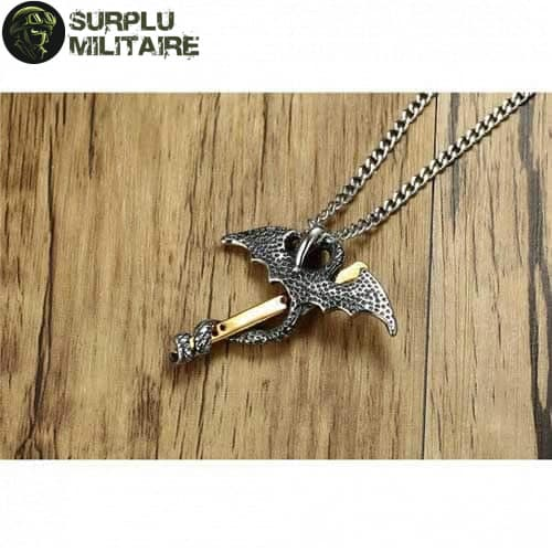 collier militaire dragon epee