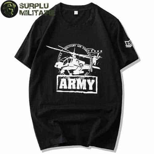 t shirt militaire homme helicoptere blanc
